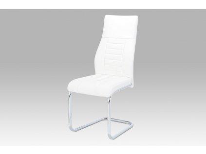 Jídelní židle, bílá koženka / chrom HC-955 WT