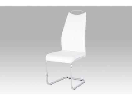 Jídelní židle bílá koženka / chrom HC-981 WT