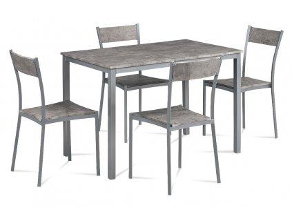 Jídelní set 1+4, šedý kov mat, MDF dekor beton JEREMY BET