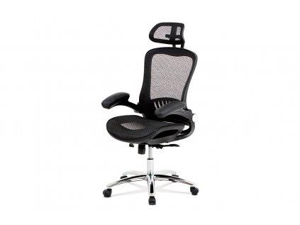 Kancelářská židle, synchronní mech., černá MESH, kovový kříž KA-A185 BK
