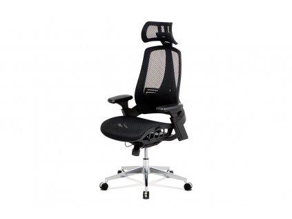 Kancelářská židle, černá MESH síťovina, lankový mech., kovový kříž KA-A189 BK