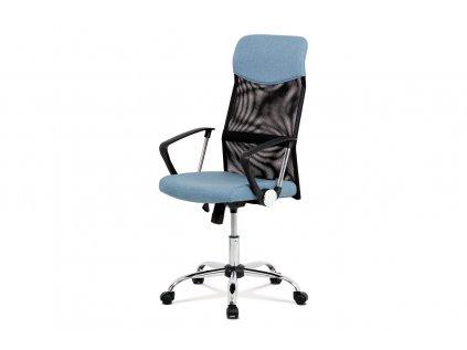 Kancelářská židle, houpací mech., modrá látka + černá MESH, kovový kříž KA-E301 BLUE