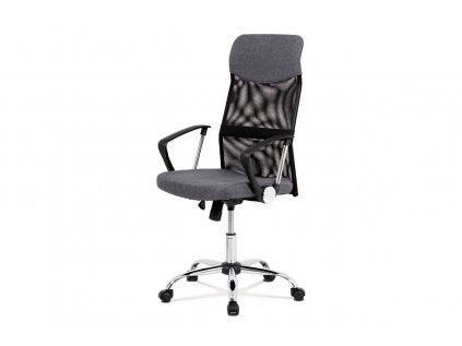 Kancelářská židle, houpací mech., šedá látka + černá MESH, kovový kříž KA-E301 GREY