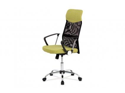 Kancelářská židle, houpací mech., zelená látka + černá MESH, kovový kříž KA-E301 GRN