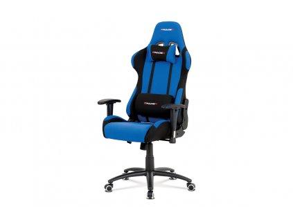 Kancelářská židle, modrá-černá látka, houpací mech, kovový kříž KA-F01 BLUE