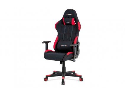 Kancelářská židle, houpací mech., černá + červená látka, plastový kříž KA-F02 RED
