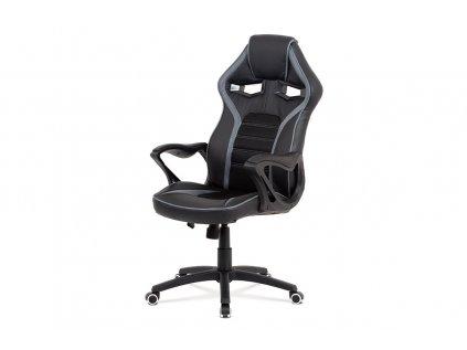 Kancelářská židle, černá ekokůže + MESH, šedá MESH, kříž plast černý, houpací mech KA-G406 GREY