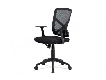 Kancelářská židle, černá MESH+síťovina, plastový kříž, houpací mechanismus KA-H102 BK