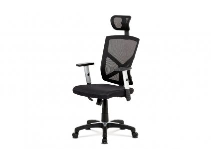 Kancelářská židle, černá MESH+síťovina, plastový kříž, houpací mechanismus KA-H104 BK