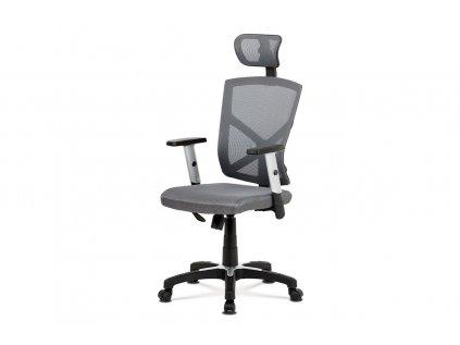Kancelářská židle, šedá MESH+síťovina, plastový kříž, houpací mechanismus KA-H104 GREY