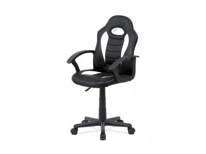 Kancelářská židle, bílá-černá ekokůže, výšk. nast., kříž plast černý KA-V107 WT