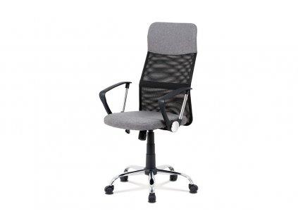 Kancelářská židle, šedá látka, černá MESH, houpací mech, kříž kovový KA-V204 GREY