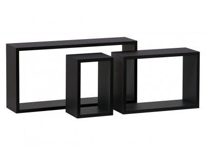 Nástěnná polička, sada 3 ks, barva černá matná P-009 BK