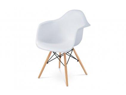 Jídelní židle, plast bílý / masiv buk CT-719 WT1