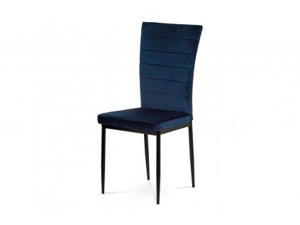 Jídelní židle, modrá látka samet AC-9910 BLUE4