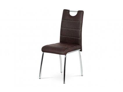 Jídelní židle, hnědá látka imitace broušené kůže, kov chrom AC-9930 BR3