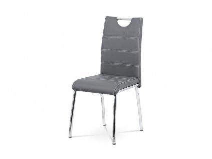 Čalouněná židle s prošitím sedáku a opěráku, šedá AC-9920 GREY