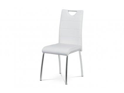 Čalouněná židle s prošitím sedáku a opěráku, bílá AC-9920 WT