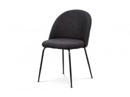 Čalouněná designová židle s dekorativním prošitím zad, černá CT-017 BK2