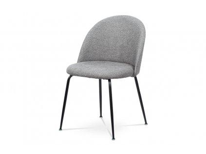 Čalouněná designová židle s dekorativním prošitím zad, stříbrná CT-017 SIL2
