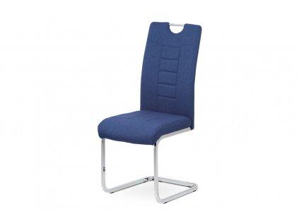 Čalouněná židle s prošitím a kovovou podnoží, modrá DCL-404 BLUE