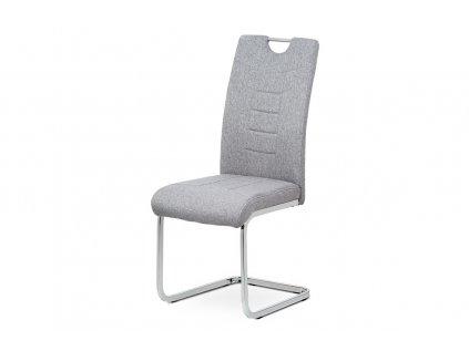 Čalouněná židle s prošitím a kovovou podnoží, stříbrná DCL-404 SIL2