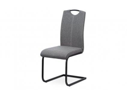 Jídelní čalouněná židle s lakovanou kovovou podnoží, šedá DCL-612 GREY2