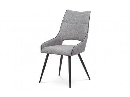Čalouněná židle s kovovou podnoží a ozdobnou paspulí, šedá HC-021 GREY2