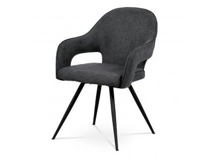 Čalouněná jídelní židle s područkami, šedá HC-031 GREY2