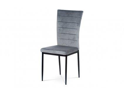 Jídelní židle, šedá látka samet, kov černý mat AC-9910 GREY4