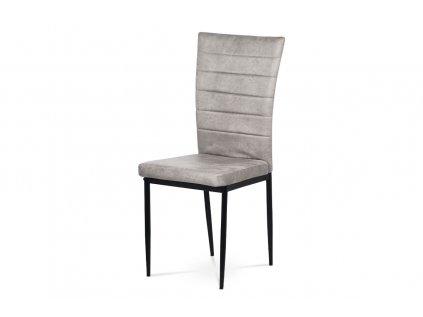 Jídelní židle, černá látka imitace broušené kůže, kov černý mat AC-9910 LAN3
