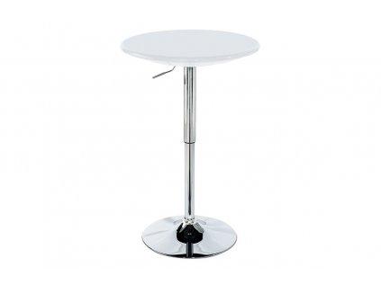 Barový stůl, výškově nastavitelný, bílá / chrom AUB-4010 WT