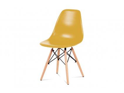Jídelní židle, plast žlutý / masiv buk / kov černý CT-758 YEL