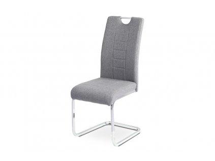 Jídelní židle - šedá látka, kovová chromovaná podnož DCL-404 GREY2