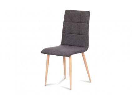 Jídelní židle, šedostříbrná látka, kov dekor buk DCL-603 SIL2