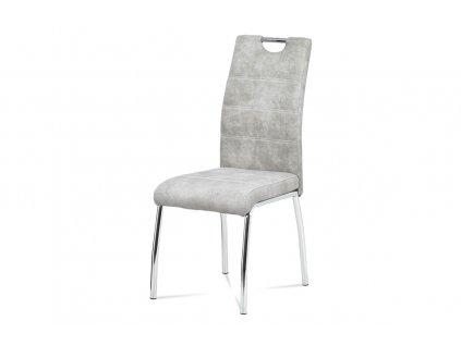 jídelní židle, látka stříbrná COWBOY / chrom HC-486 SIL3