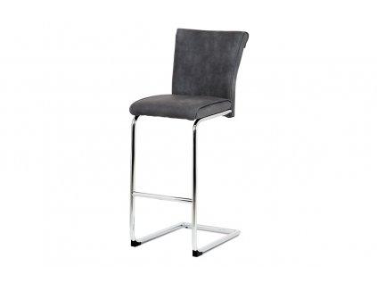 Barová židle, šedá ekokůže v dekoru broušené kůže, chromovaná pohupová podnož BAC-192 GREY