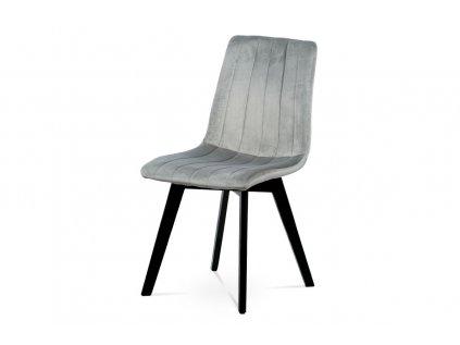 Jídelní židle, stříbrná sametová látka, masivní bukové nohy, černý matný lak CT-617 SIL4