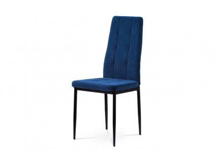 Jídelní židle, modrá sametová látka, kovová čtyřnohá podnož, černý matný lak DCL-395 BLUE4