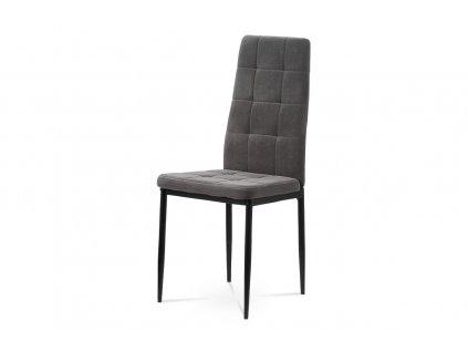 Jídelní židle, šedá sametová látka, kovová čtyřnohá podnož, černý matný lak DCL-395 GREY4