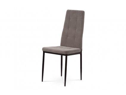 Jídelní židle, lanýžová sametová látka, kovová čtyřnohá podnož, černý matný lak DCL-395 LAN4