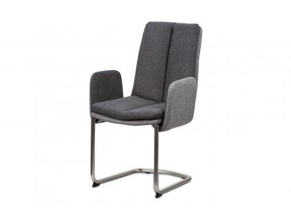 Jídelní židle, látka světle / tmavě šedá, kovová pohupová podnož, broušený nikl HC-042 GREY2