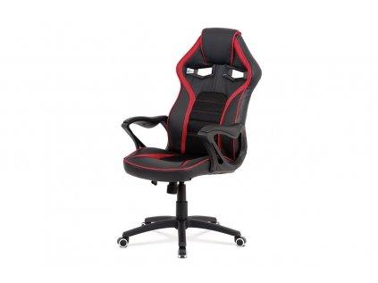 Herní židle s područkami, černo-červená KA-G406 RED