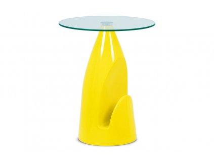 Odkládací stolek, čiré sklo / vysoký lesk žlutý AF-2063 YEL