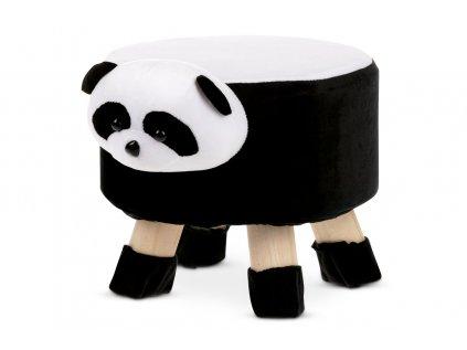 Taburet - panda, bílá a černá látka, dřevěné nohy LA2008