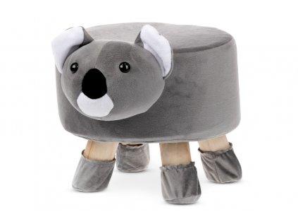 Taburet - koala, šedá látka, dřevěné nohy LA2009