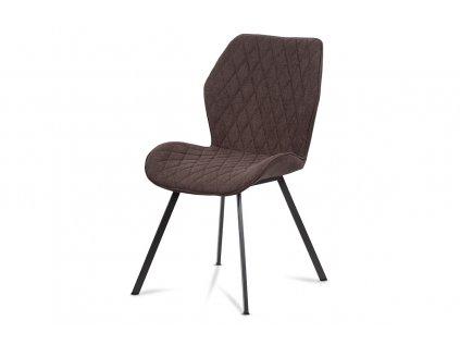 Jídelní židle s kovovou podnoží a látkovým čalouněním, hnědá AC-1121 BR2