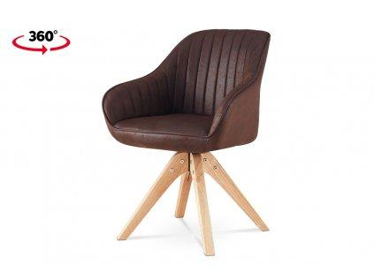 Jídelní židle, hnědá látka v dekoru broušené kůže, nohy masiv kaučukovník HC-772 BR3