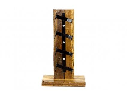 Stojan na víno,  dřevořezba  z recyklovaného dřeva s kovovými držáky WLD137