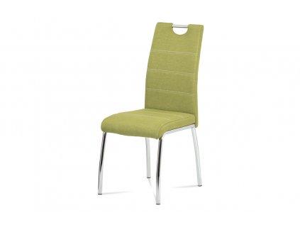 Jídelní židle, potah olivově zelená látka, bílé prošití, kovová čtyřnohá chromovaná podnož